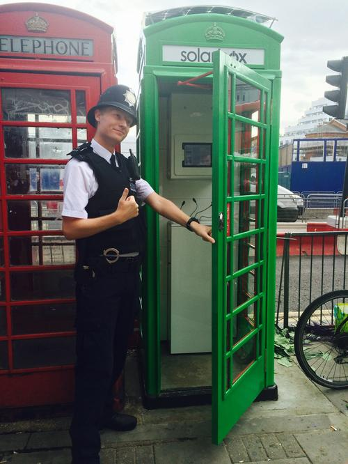 Allo, allo, allo, what's all this then? An under-employed London copper checks out the Solarbox.