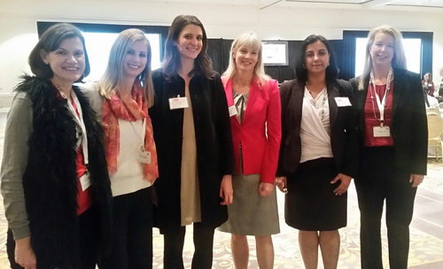 Speakers at Women in Telecom gear up for the panel. From left: Liz Coyne, The New IP editor; Sarah Thomas, Light Reading's editorial operations director; Vanessa Slavich, head of talent and diversity programs for Square; Judy Little, VP of strategic alliance management for Ericsson; Pinder Chauhan, head of global technical support for CommScope; and Julie Stoughton, senior director of industry marketing for SAP. Not pictured: Carol Wilson, Light Reading editor-at-large.