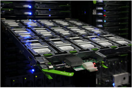 A tray of hard drives in a cold storage rack. Source: Facebook.