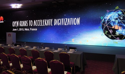 The calm before the storm... Huawei's team was all set up for about 200 industry executives, analysts and media to join them at the B4 Plaza hotel in central Nice, France. The subject? The screen says it all.