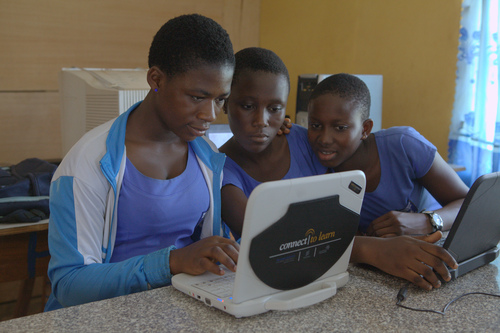 Female students take part in Ericsson's Connect to Learn program in Ghana, where it's common for girls to drop out after primary education. [Source: Ericsson]