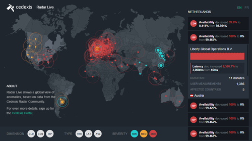 Cedexis Radar Live real-time interactive map