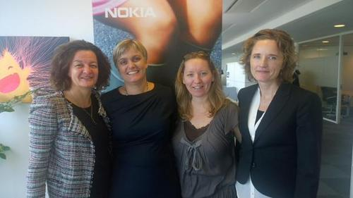 (From left) Merete Hillmann, Head of Services Marketing at Nokia Networks; Jane Rygaard, Nokia's Head of ACS and Partner marketing; Louise Suhr, Head of Customer Team TT Network at Nokia; and Lise Karstensen, country head of Denmark for Networks at Nokia pose for a pic at the vendor's local 5G event, where, Rygaard says, the women actually outnumbered the men.