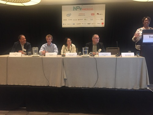 Heavy Reading analyst Roz Roseboro introduces panelists Rami Yaron of MEF, Red Hat's Dave Neary, AT&T Labs' Margaret Chiosi, and Intel's Frank Schapfel.