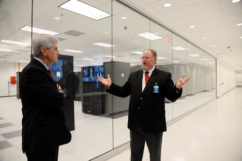 C Spire Vice-President of Cloud Services Tad Hamilton gives Mississippi Governor Phil Bryant a  tour of C Spire's new $23 million data center in Starkville, Miss.
