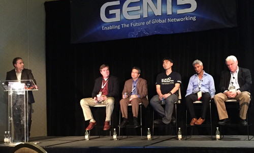 The engaging group led by MEF's Rami Yaron (left) included (L to R), Rick Schell, Open Cloud Compute; Thinh Nguyenphu, ETSI NFV ISG; James Kim, CableLabs; Pascal Menezes, ONF; and Ken Dilbeck, TM Forum.