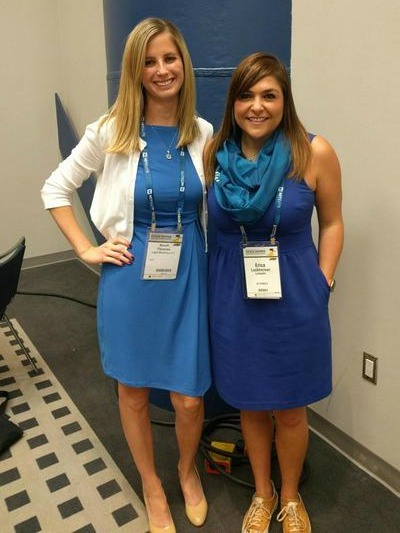 Erica Lockheimer, Director of Engineering Growth, LinkedIn (and WiC Director Sarah Thomas, both sporting LinkedIn blue at the Grace Hopper Conference)
