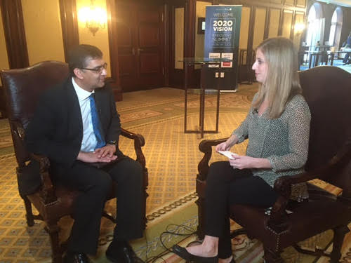 Rashik Parmar, distinguished engineer and lead IBM cloud advisor, talks with Light Reading's Sarah Thomas, after his presentation on the cognitive systems era.