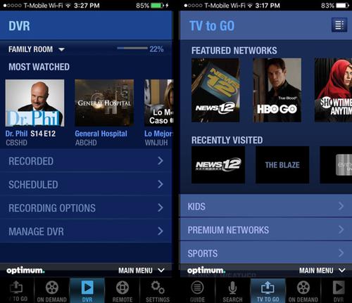 Cablevision Optimum app including DVR control features