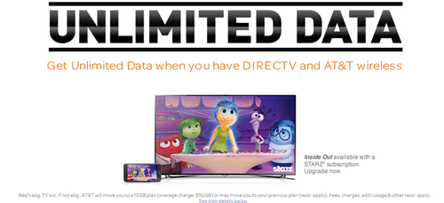 Promo for AT&T unlimited data bundle with DirecTV subscription