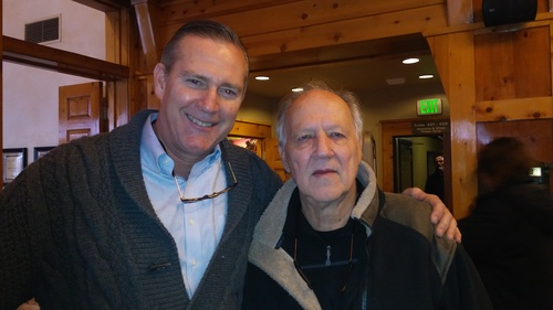 NetScout CMO Jim McNiel (left) and the director of Lo and Behold, Reveries of the Connected World, Werner Herzog, at the Sundance Film Festival. [Editor's note: This is not a caption I ever expected to write for Light Reading...]