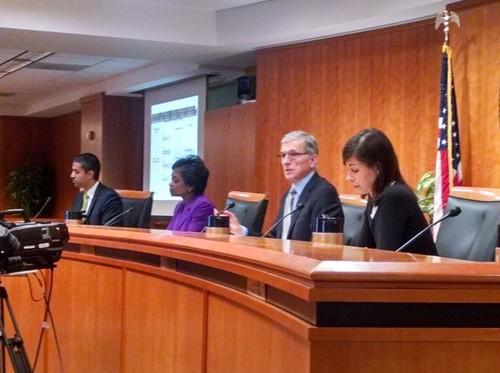FCC Commissioners Ajit Pai, Mignon Clyburn, Chairman Tom Wheeler and Jessica Rosenworcel