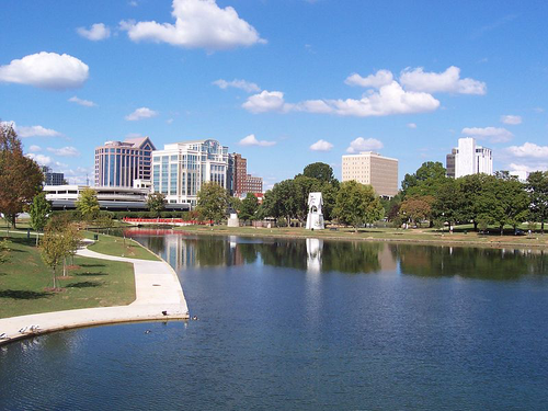 View of downtown Huntsville, Ala. from Big Spring International Park. [Source. CC BY-SA 3.0]