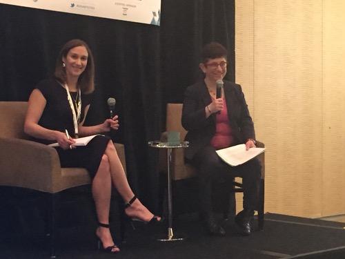 Light Reading Senior Editor Mari Silbey (left) and FCC Adviser Gigi Sohn share a moment on stage.