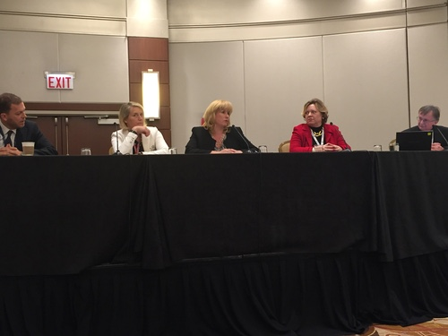 From left: Oztelcan, van der Walt, Bourque, McCorcle and Burkitt-Gray discuss how men can help level the playing field for women in telecom.
