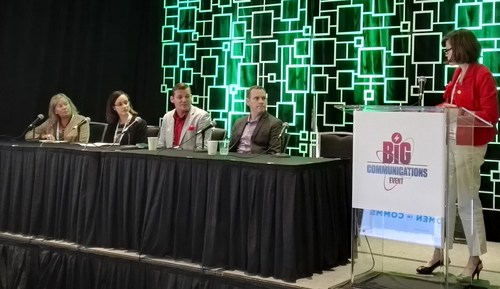 From left: Maggie Bellville, Nelly Pitocco, Derek Peterson, James Feger and Liz Coyne discuss how to build a fully inclusive workplace.