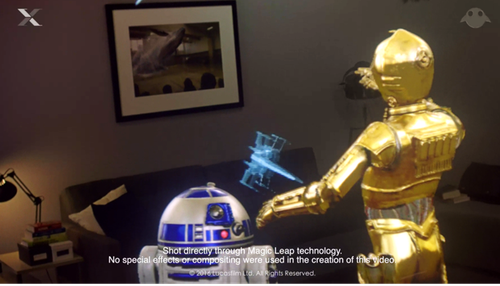 A screenshot from video demo of Magic Leap technology.