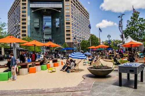 Detroit's Campus Martius hosts a summer pop-up beach.