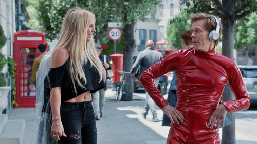 Kevin Bacon and – yikes! – Britney Spears in a still from an EE ad promoting its new Apple Music offer.