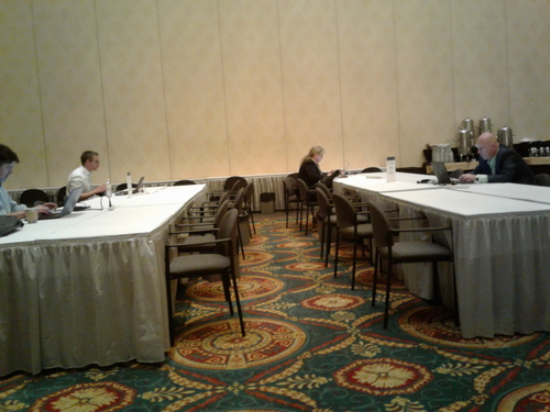 The busiest corner of the press room while I was writing this.