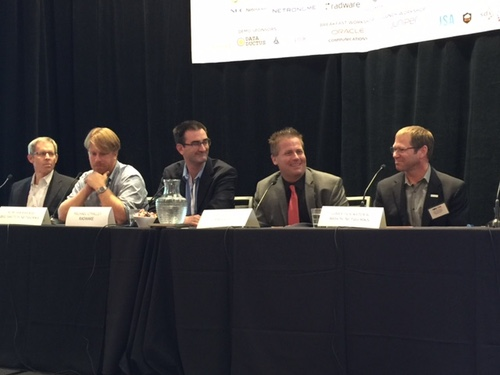 From left: Ron Renwick, senior director of product marketing, Netronome; Rob Sherwood, CTO, Big Switch Networks; Mike O'Malley, vice president strategy and business development, Radware; Ray Watson, vice president, Global Technology, Masergy; and Gary Sockrider, principal security technologist, Arbor Networks