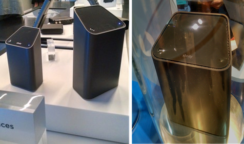 Comcast gigabit gateway shown first at INTX 2015 (left) and then at INTX 2016 (right)