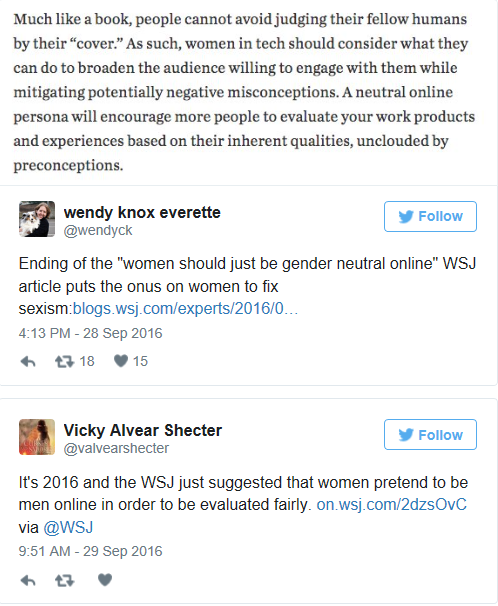 Just a snippet of the many tweets fired at The Wall Street Journal and John Greathouse in response to Greathouse's article suggesting women 'obscure' their gender online in order to eliminate bias.