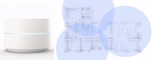 Google Wifi shown as an individual module and distributed throughout a home.