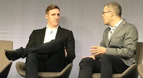 Amazon's Matt Wood (left) and Steven Rosenbush, The Wall Street Journal's CIO Journal.
