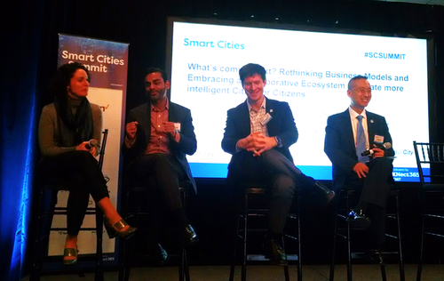Pictured from left to right at the Informa Smart Cities Summit: CIO of Chicago Brenna Berman, CIO of Atlanta Samir Saini, CTO of Seattle Michael Matmiller and Dr. Sokwoo Rhee, Associate Associate Director of Cyber-Physical Systems Program, National Institute of Standards and Technology (NIST)