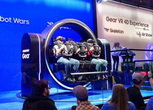 Samsung wins the virtual reality prize for a '4D' Gear VR demo that included not only VR headsets, but a rollercoaster ride on the wheel of death. Nobody threw up afterward so they must have had any VR latency issues nailed.