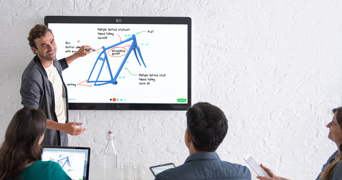 The 55' panel combines digital whiteboard, video conferencing and presentations in a single device. Judging by the expression on this guy's face, that's hilarious.