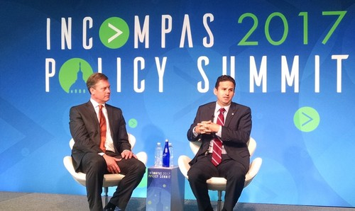 Incompas CEO Chip Pickering (left) hosts Senator Brian Schatz (D-HI) on the right in a discussion at the Incompas 2017 Policy Summit
