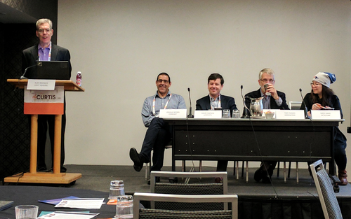 Comcast's Joshua Seiden spoke at a breakfast session during Light Reading Cable Next-Gen Technologies event. Moderator Alan Breznick is on the left above, followed by Seiden, Layer3 TV's David Rapson, Verimatrix CEO Tom Munro and SCTE/ISBE's Niem Dang.