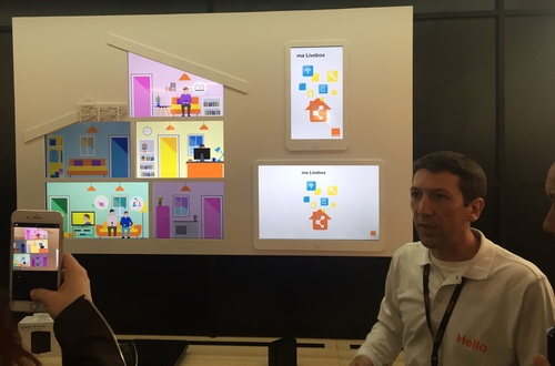 An Orange technician shows off the operator's latest LiveBox innovations during the annual Hello conference.