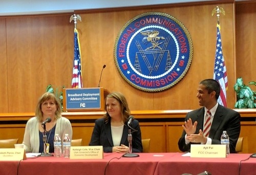 At the FCC's first BDAC meeting, pictured left to right: Elizabeth Pierce, CEO of Quintillion; Kelleigh Cole, director, Utah Broadband Outreach Center Utah Governor's Office of Economic Development; Ajit Pai, FCC chairman