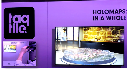 In the future, you won't need physical models to explore and design buildings, cities or, let's say, an infrastructure deployment; you'll only need a Microsoft HoloLens and software from Taqtile. In this picture, the inset photo at bottom left shows an empty table and a gentleman about to don a HoloLens headset. The larger image shows the virtual, interactive model of a city that appears on the empty table when viewed through the HoloLens gear.