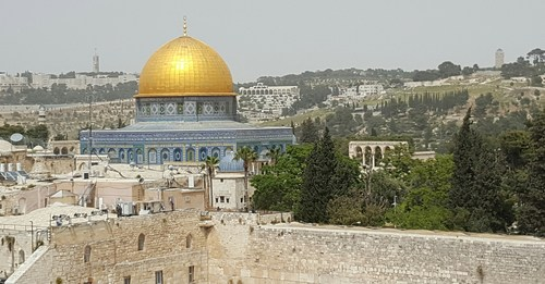 Jerusalem Old City offers up some amazing views -- this is the Dome of the Rock shrine beyond the Western Wall.