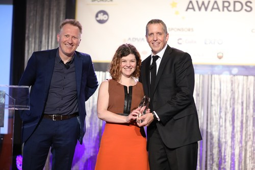 OPNFV's Heather Kirksey poses with Light Reading's Le Maistre and Steve Saunders as she accepts her award.