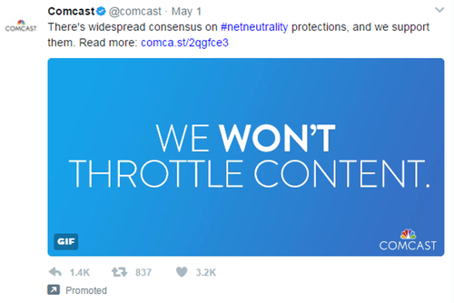 A promoted tweet by Comcast says the cable company is in favor of net neutrality principles.