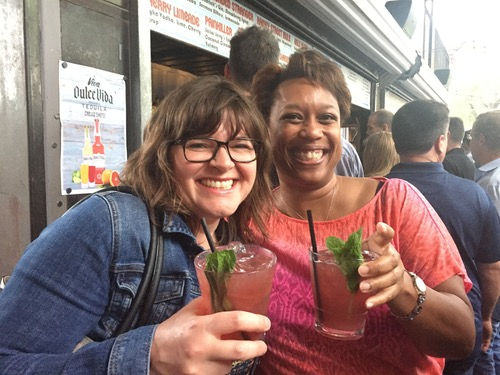 Stephanie Walkenshaw, Level 3 Communications media relations manager (left), and Roz Roseboro, Heavy Reading senior analyst, look like they're enjoying those drinks at the BCE kickoff party Tuesday evening. (Wilson)