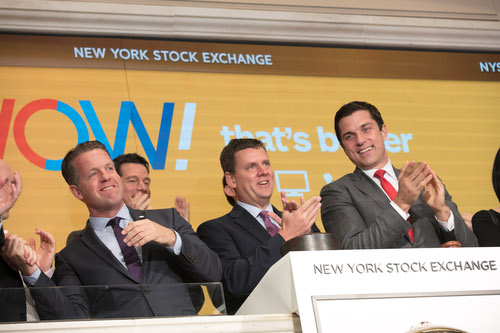 CEO Steve Cochrane (center) and team at New York Stock Exchange this morning. (Source: WOW)