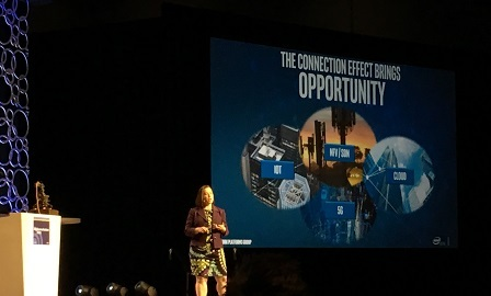 Intel's Lynn Comp addressed leveraging the 'connection effect' in network transformation.