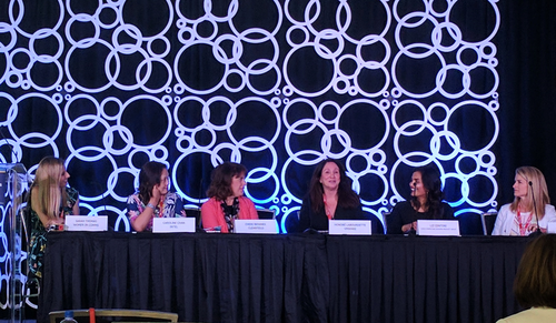 Women in Comms' Sarah Thomas moderates a panel with Caroline Chan, GM at Intel; Cheri Beranek, CEO of Clearfield; Honore Labourdette, vice president at VMWare; Liz Centoni, SVP at Cisco; and Melissa Arnoldi, president of technology development at AT&T.