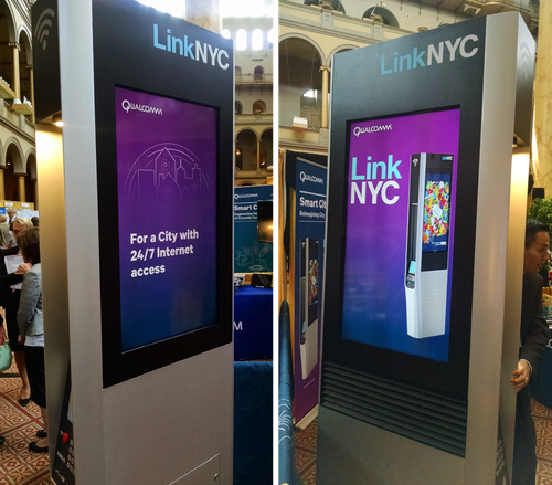 An early look at LinkNYC kiosks, which are now deployed throughout the city and delivering free WiFi service.