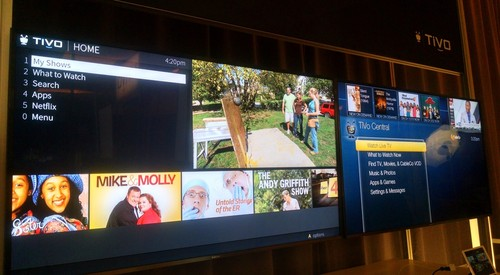TiVo new and old UIs shown side by side at CES 2017