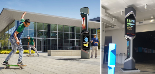 Verizon smart city kiosk pictured above, with an image from partner Frog Design on the left, and one of the kiosk in real life on the right