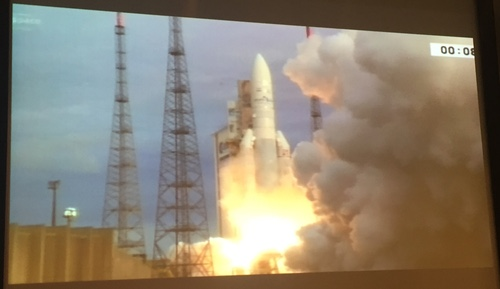 The Ariane 5 rocket takes to the skies, as witnessed by Light Reading on a big screen at Inmarsat's headquarters in London.
