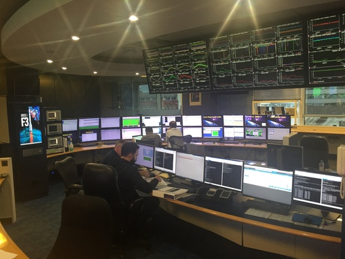 Inmarsat's network operations center, at its headquarters in London, allows it to monitor the status of its satellite services worldwide.