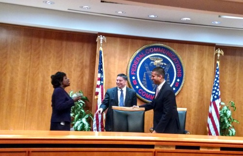 The current slate of FCC Commissioners: Mignon Clyburn, Michael O'Rielly and Ajit Pai